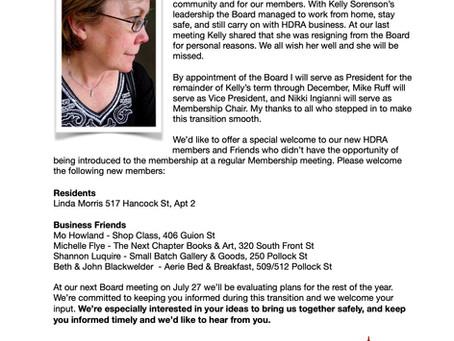 Letter from HDRA's President