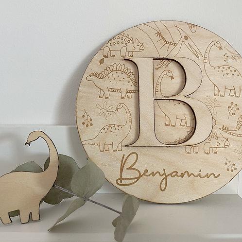 Plaque ronde en bois thème dinosaure avec Prénom