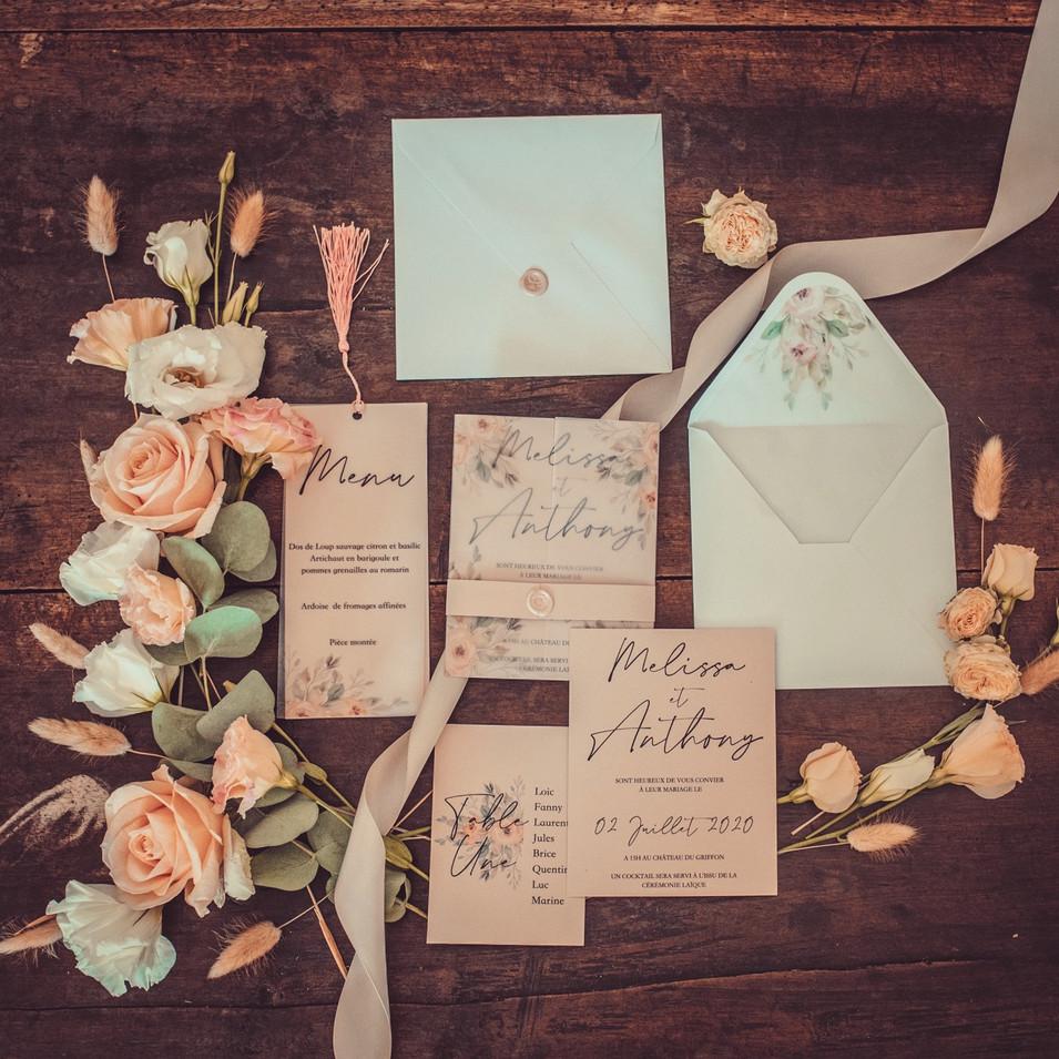 Papeterie mariage thème rose poudré et doré