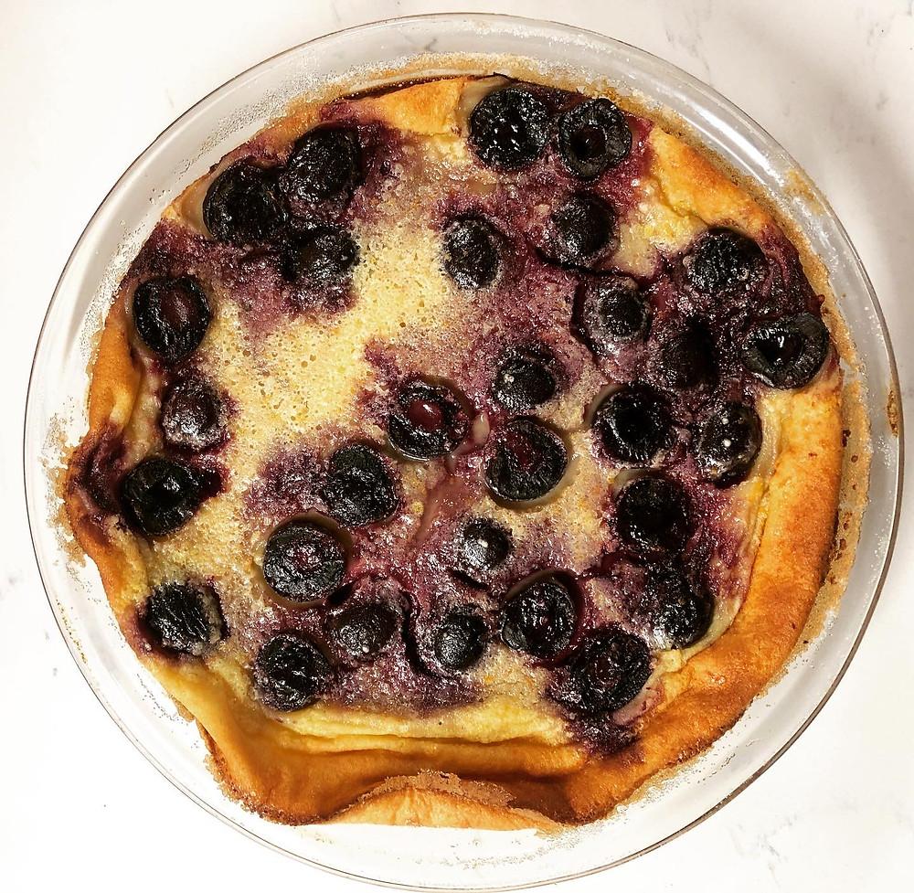 Cherry clafoutis, baked