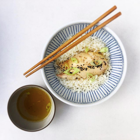 Chicken & Rice, with sweet & soy dashi