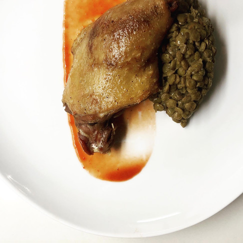 Duck Confit, with Lentils Basquaise & cherry plum- Apricot coulis