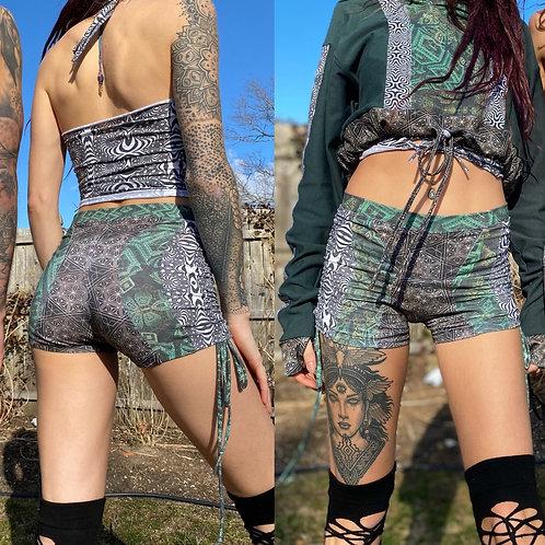 Custom Patchwork Cinch Shorts