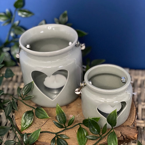 Grey Porcelain Heart Candle Lantern