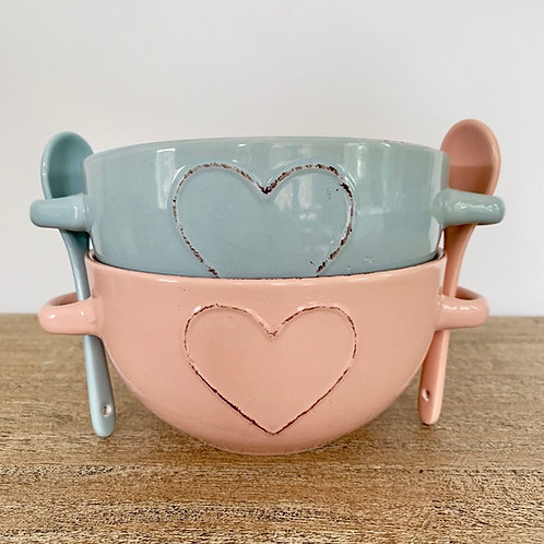 Colour Heart Bowl with Spoon
