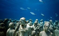 Sculptures of modern art in the ocean
