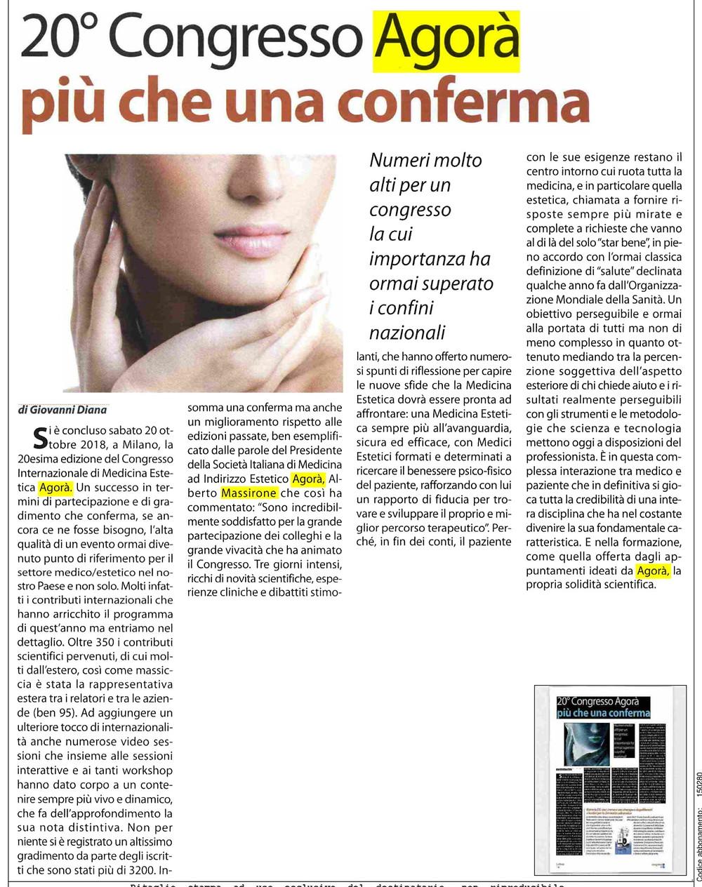 """Articolo di """"ok-salute.it"""" 20°CONGRESSO AGORÀ"""