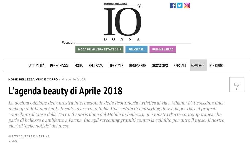 IO DONNA -  AGORÀ: L'AGENDA BEAUTY DI APRILE 2018