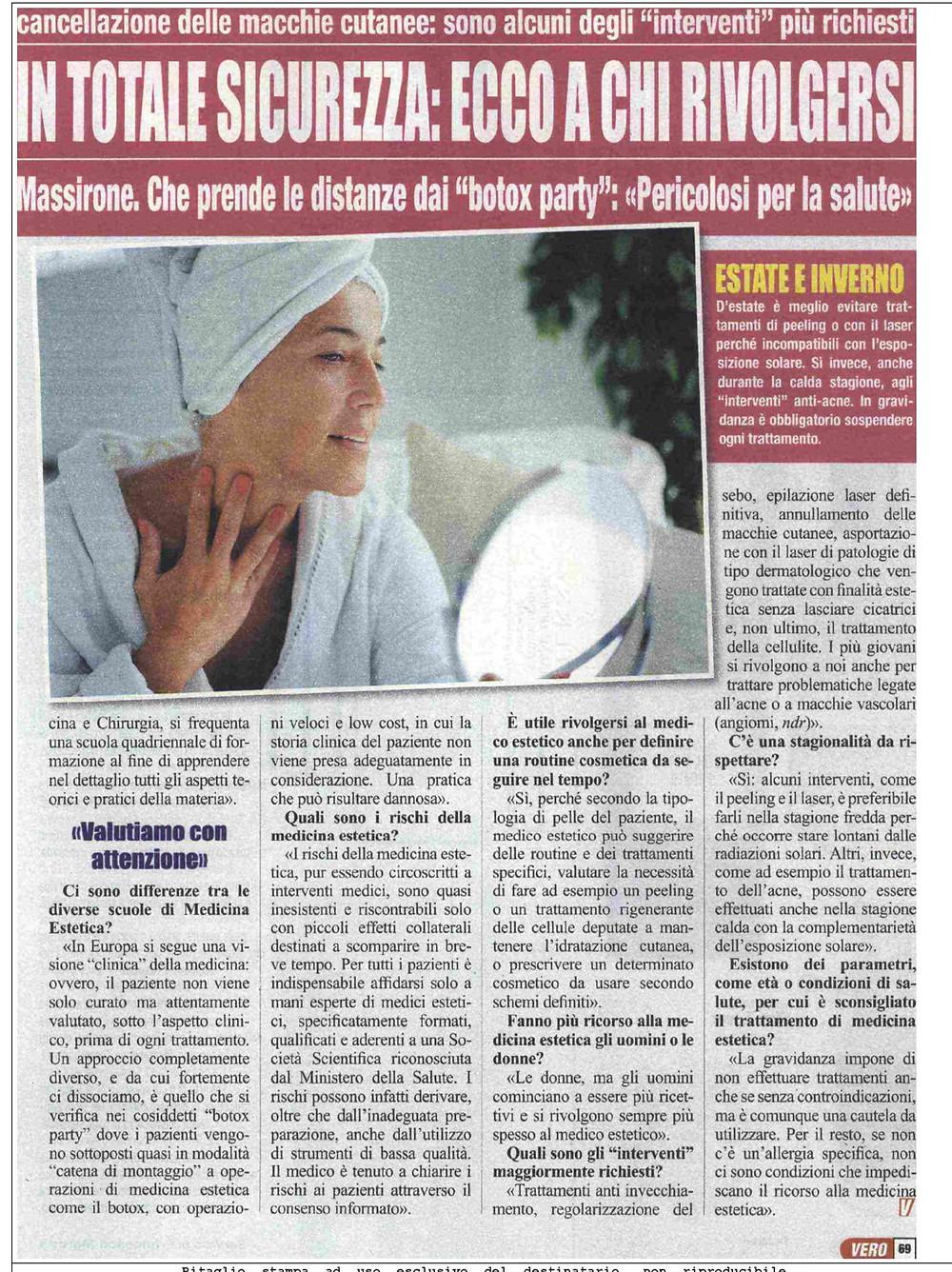 """""""vero"""" intervista il Presidente dalla Scuola e Società Scientifica di Medicina Estetica Agorà di Milano, Prof. Alberto Massirone"""