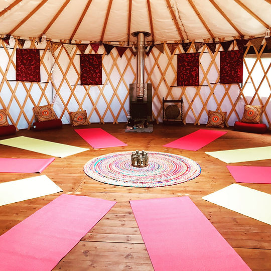 Inside Yoga Yurt