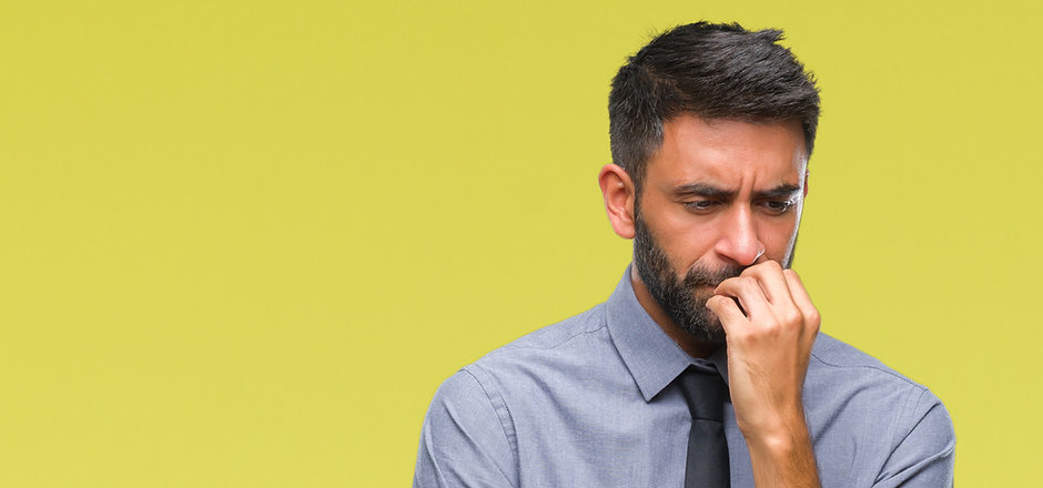 Adult hispanic business man over isolate
