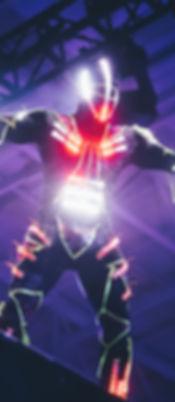A glowing futuristic cyborg