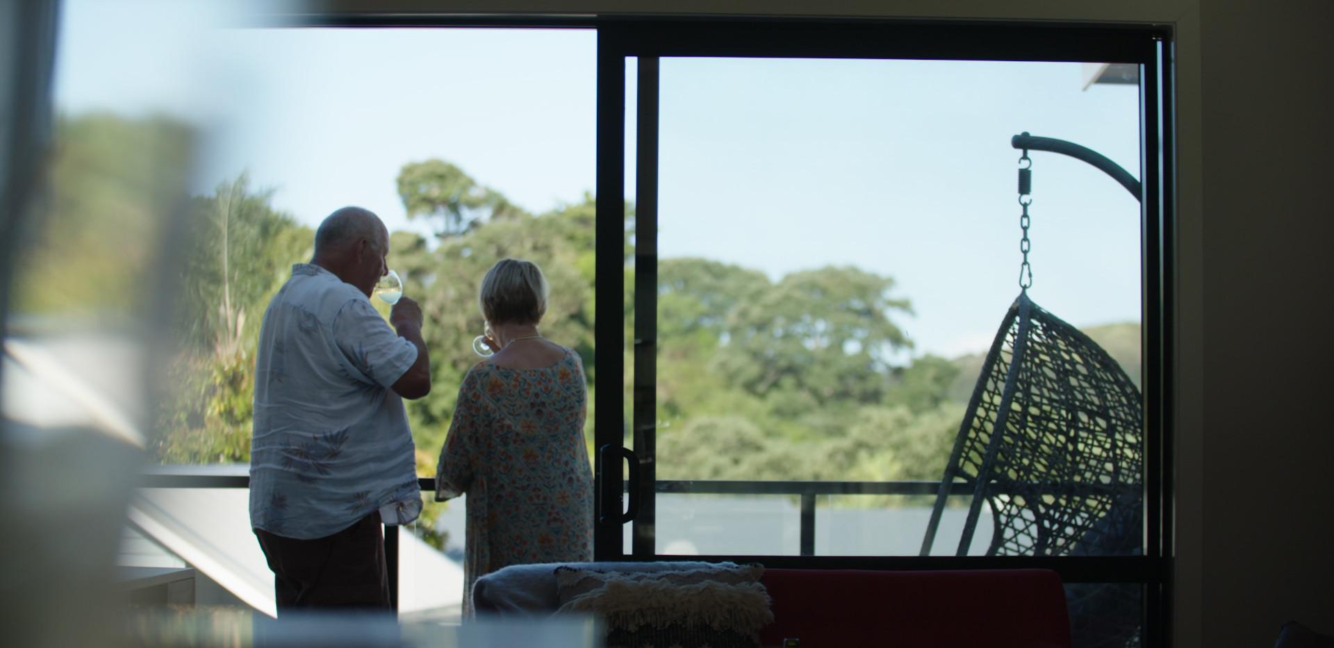Wine on Balcony Waiheke Retirement Village
