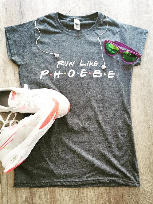 Run Like Phoebe Friends Inspired Grey Workout Tee