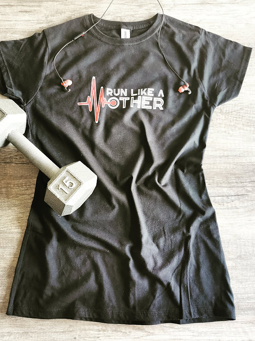 Run like a Mother black workout tee