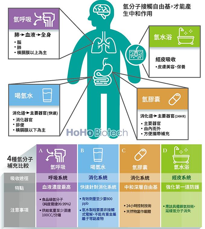 氫分子(水素)各種劑型應用在人體中不同的吸收途徑