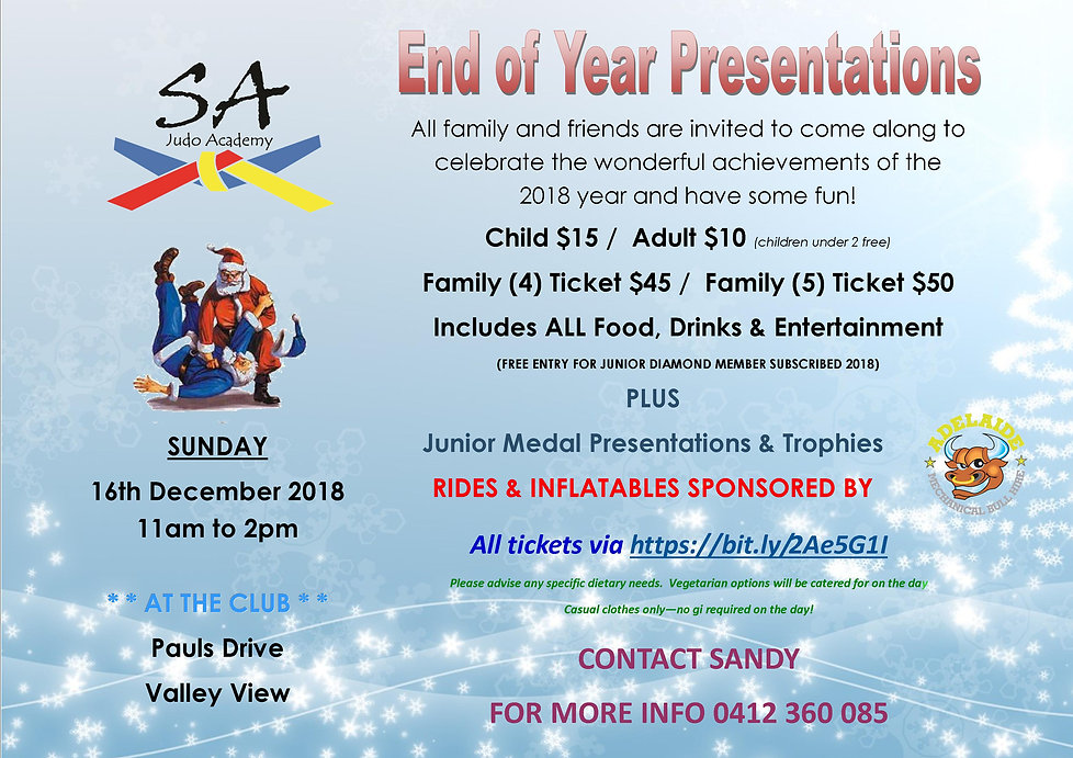 SA Judo Academy End of Year Junior Presentations