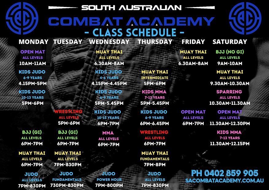 SA Judo Academy Timetable