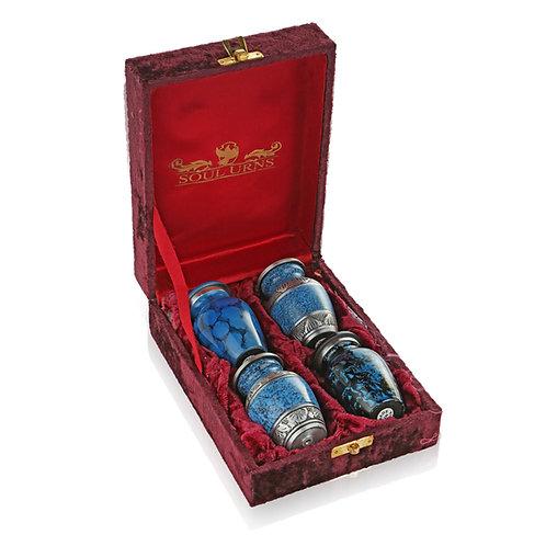 Shades of Blue Keepsake Urn Set of Four