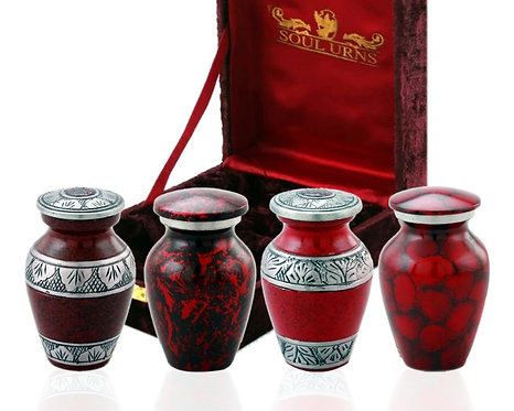Red Small Mini Cremation Keepsake Urns for Human Ashes