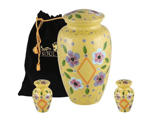 Yellow Lattice Flower Cremation Urn