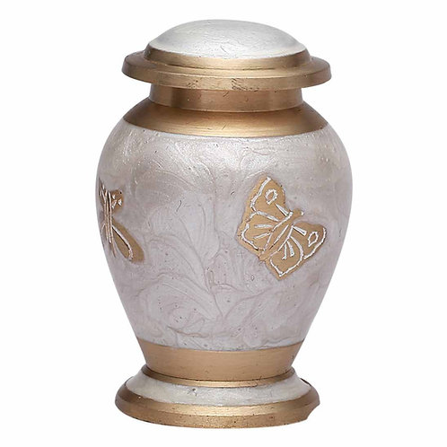Golden Butterfly On White Keepsake Funeral Urn