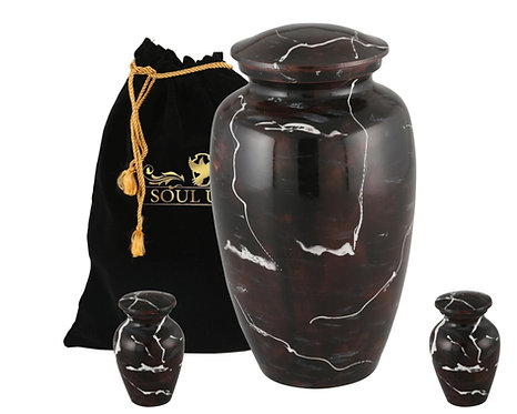 Burgundy Marble Finish Cremation Urn