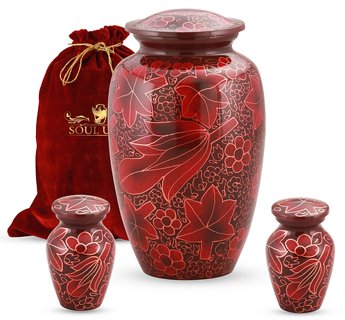Floral Red Funeral Urn With 2 Keepsake Urns