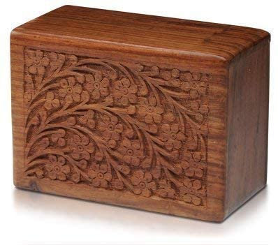 Tree of Life RoseWood Urn With Velvet Bag