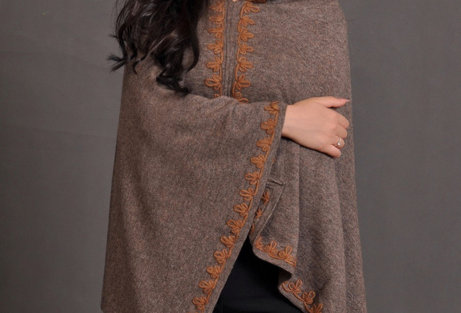 FLOWERS Woollen Poncho- Taupe