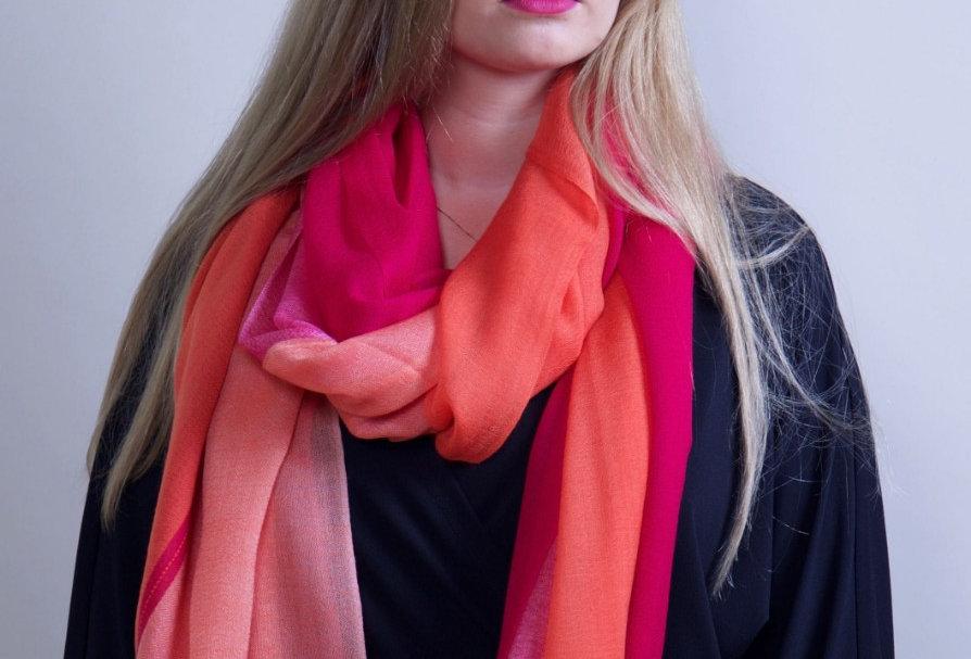 MERAKI 4 Dimensional extra-fine merino scarf- Candy Floss