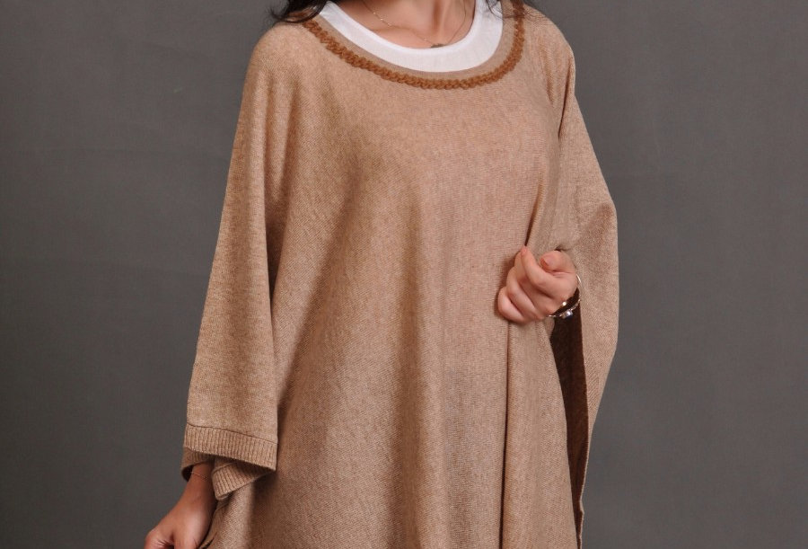 CAREFREE Woollen Cape Dress- Brown