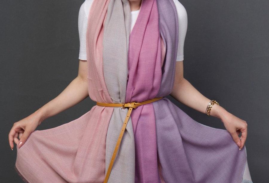 MERAKI 4 Dimensional extra-fine merino scarf- Noble Lilac