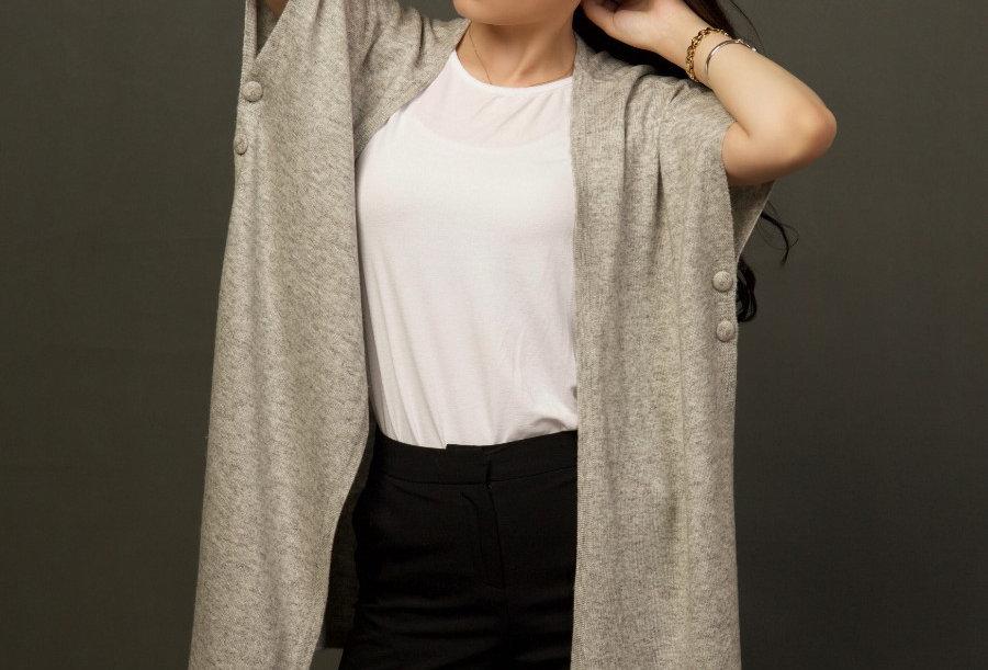 Woollen Cape Dress with belt- Gray