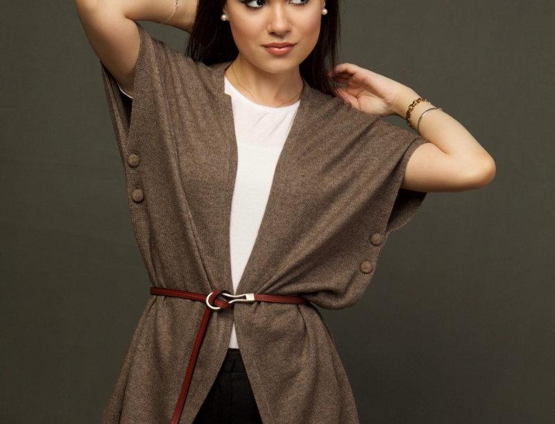Woollen Cape Dress- Brown
