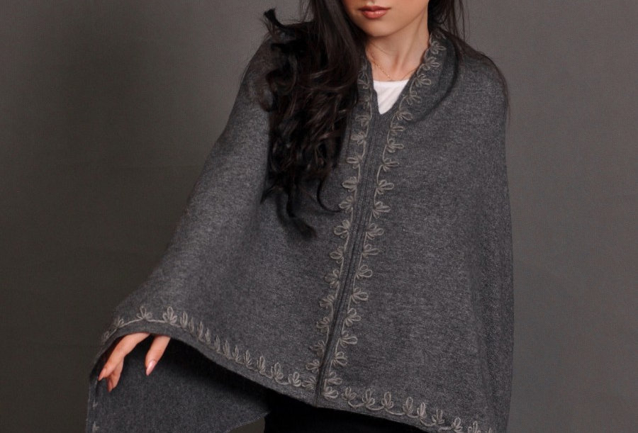 FLOWERS Woollen Poncho- Charcoal