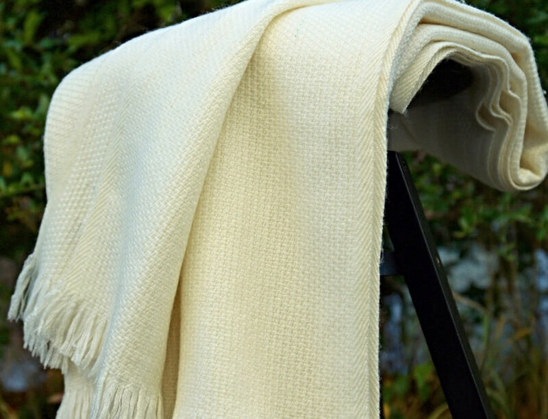 HYGGE Reversible Cashmere Blend Blanket-White