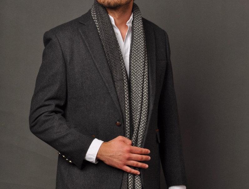 STRIPES Premium Mountain Yak Wool Muffler - Charcoal Black