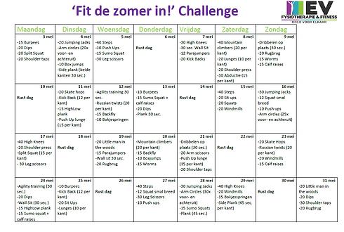 kopie schema ev challenge fit de zomer i