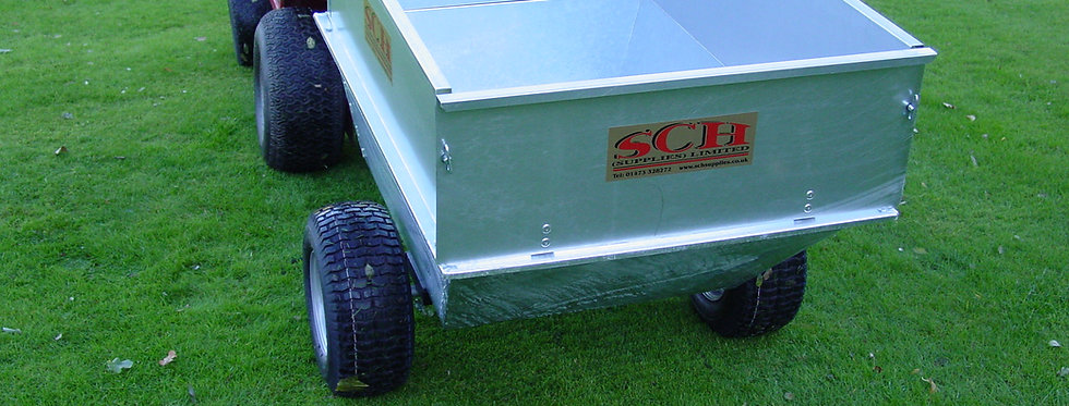Large Capacity Galvanised Tipping Trailer, Wide Profile Wheels - Ref GT/GALV