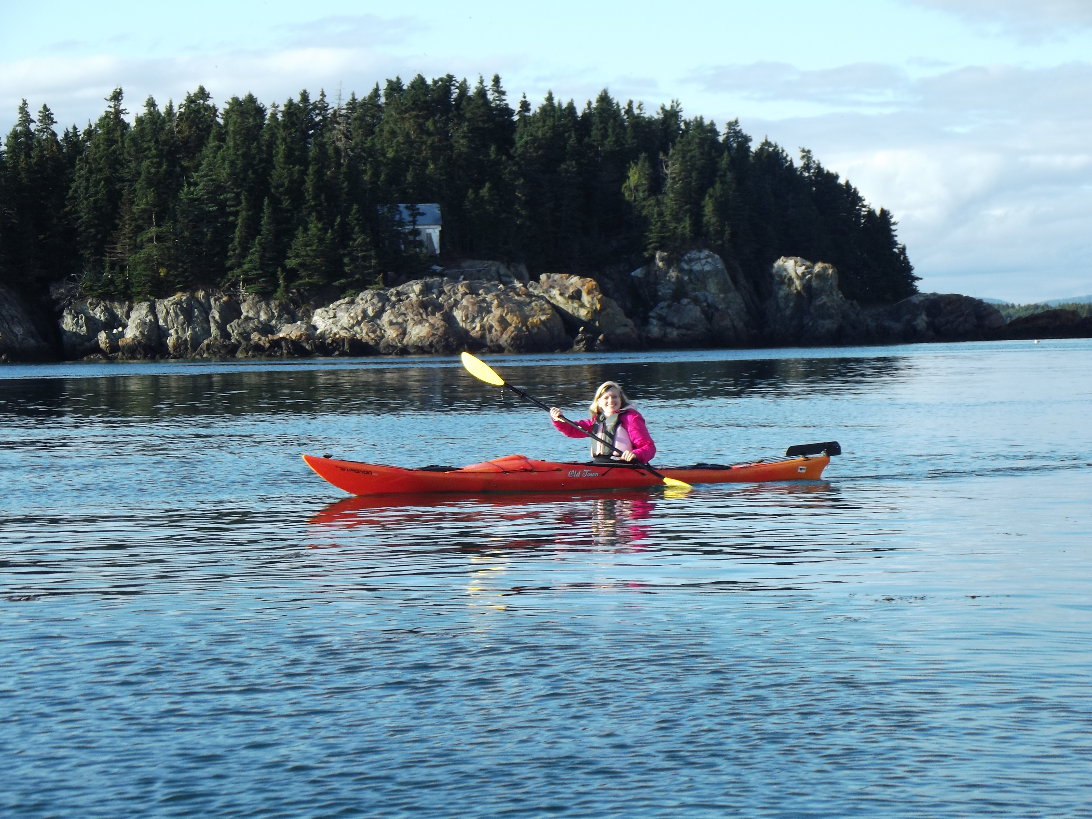 Paddler with Nubble Island