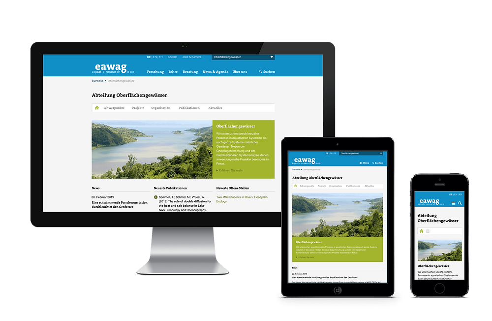 Eawag Website – Konzeption und Design