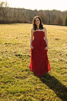Red dress lady 9 grass