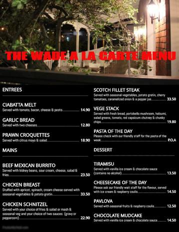 The Wade - Xmas A la carte Menu 22.11.18