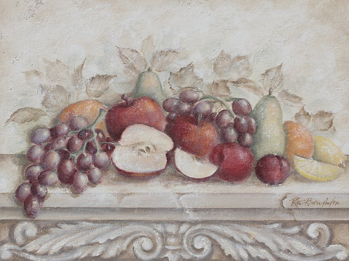"Original Painting ""Fruit and Scroll with Apples"""