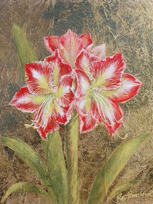 "Original Painting ""Golden Amaryllis II"""