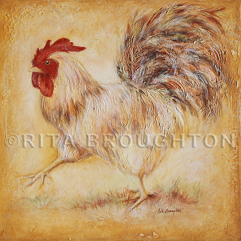 "Original Painting ""French White Rooster Run"""