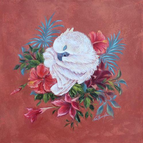 "Original Painting 'Paradise Parrot Preening"""