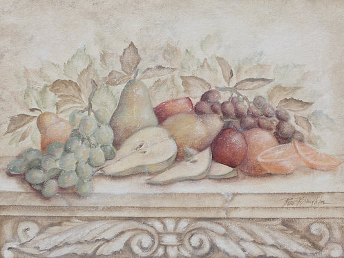 "Original Painting ""Fruit and Scroll with Pears"""