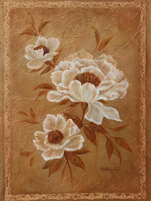 "Original Painting "" Bronze Peony"""